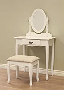 White Cream Finished Wood Bedroom Makeup Vanity Set With Vanity Table Angled