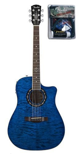 Fender T Bucket 300CE Quilted Maple Top Cutaway Acoustic Electric Guitar Bundle With Maintenance Pack