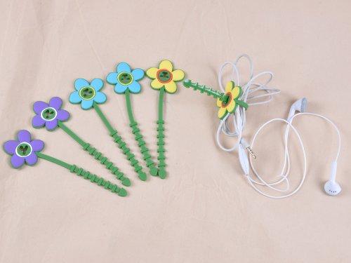 Fresh Cute Flower Headphone Earphone Cord Cable Winder 4 Bags