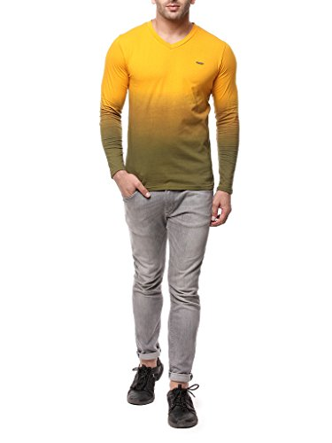 Gritstones-Yellow-Full-Sleeve-V-Neck-T-Shirt-GSFSOMBVNCKYELL