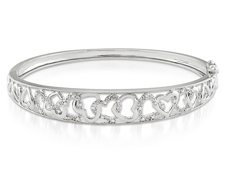 Sterling Silver 1/10 CT TDW Round White Diamonds Bangle (G-H-I3)