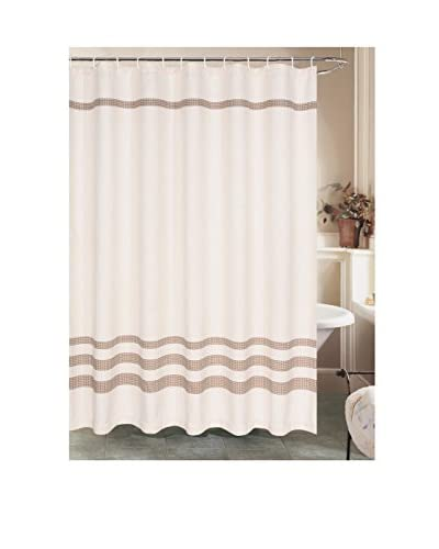 Beatrice Home Fashions Sara Lee Waffles Shower Curtain, Chocolate