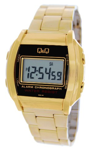 Q&Q #Ml04-301Y Men'S Metal Stainless Steel Band Chronograph Alarm Lcd Digital Watch