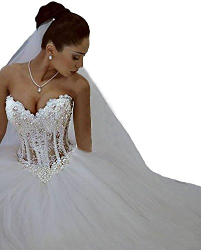 Prom-Uk-Womens-V-neck-Luxury-Beading-Ball-Gown-Wedding-Dresses-for-Bride
