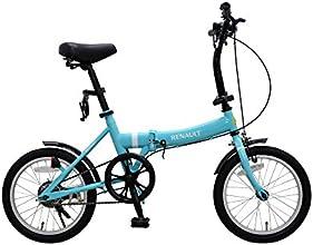 RENAULT(ルノー) FDB16 ブルー 16インチ 超コンパクト 折りたたみ自転車 前後泥除け/LEDライト/ワイヤーロック標準装備 11249-0399