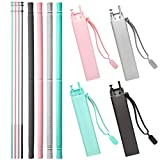 OTAGO Reusable Straws 4 pack, Collapsible Silicone straws with case and cleaning brushes-for Yeti RTIC SIC(Aqua Blue, Black, Pink, Grey) (Color: Aqua Blue&Black&Pink&Gray)