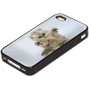 Chats 10045, Chaton Blanc, Antichoc Tough Silikone Rigide Coque Etui Case Housse Noir avec l'Image Coloré pour Apple iPhone 4 4S.