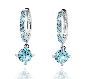 Swarovski Elements Sparkling Ladies Ocean Blue Loop Earrings made with Austrian Crystal For Women in 18ct gold finish Free gift box