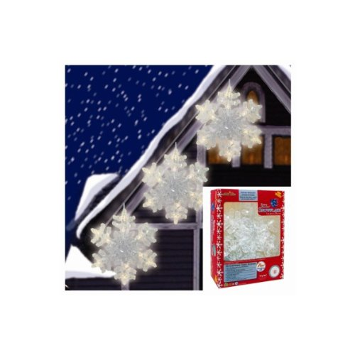 Brite Star Set of 3 Battery Operated Warm White LED Twinkling Snowflake Christmas Lights