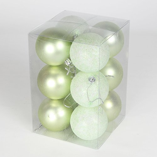 12-x-60mm-pastel-green-assorted-finish-shatterproof-christmas-tree-baubles-green