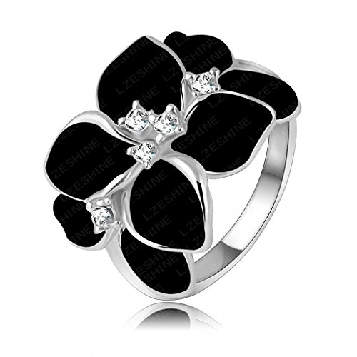 Zinc Gold Plated Rings, Women's Bands Design Platinum Plating Cystal SWA Elet Black Rings Size 9 Epinki