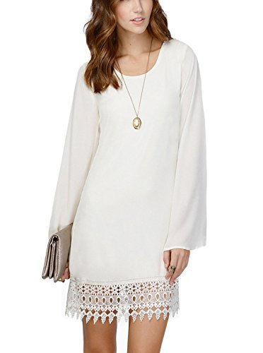 Our Precious Women's Long Sleeve A-line Lace Embellished Casual Tunic Dress, White, XS White Casual Shorts