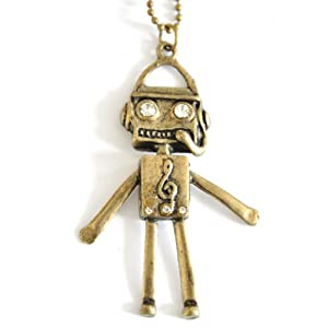 Retro diamente jewellery robot long necklace vintage UK