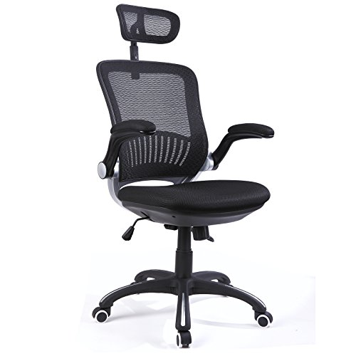 H&L Office High Back Mesh Multi-Functional Executive & Managerial Computer Desk Swivel Office Chair with Recliner, Adjustable Headrest and Flexible Arm Rest (Executive Black) Arm Swivel Office