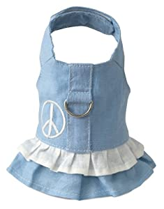 Doggles Hemp Dress Dog Harness with Peace Sign, Blue, Small