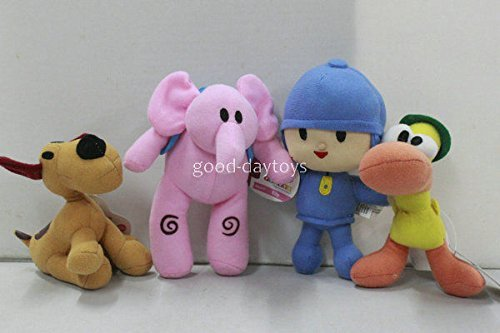 NEW set of 4pcs PRECHOOL POCOYO & Friends Loula Elly Pato Stuffed Plush dolls (Black Sex Link Chicken compare prices)