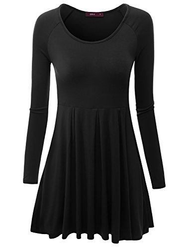 Doublju Women Boat Neck Shoulder Lace Stretchy Fabric BLACK Top,L (Daphne Costume)