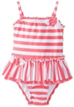 Little Me Baby-Girls Infant Azalea Swimsuit, Pink/White Stripe, 6-9 Months
