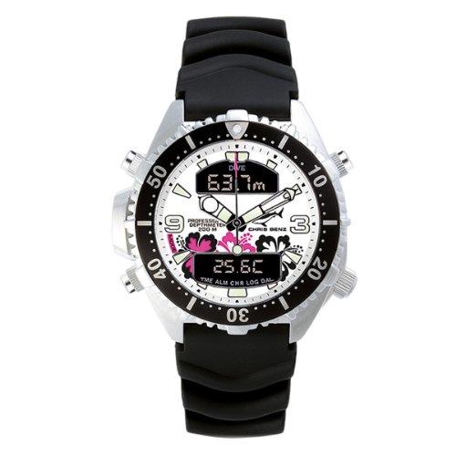 Chris Benz - CB-D-ALOHA-KB - Montre Mixte - Quartz Analogique - Digital - Gauge/Chronomètre/Aiguilles/Luminescent - Bracelet Caoutchouc Noir