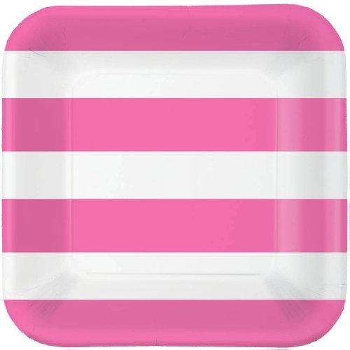 Bright Pink Cabana Stripe Dessert Plates (40ct)
