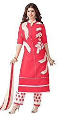 Fashionable Peach Colored Embroidered Cotton Salwar Kameez