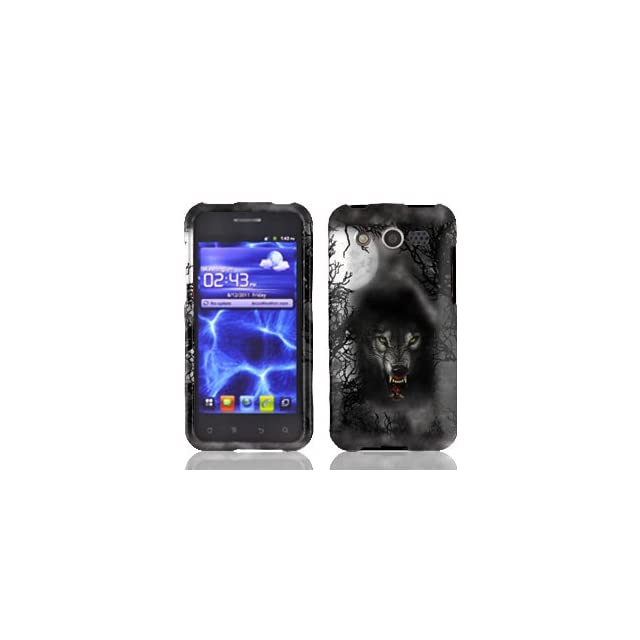 Huawei Mercury M886 M 886 / Glory Silver with Black Fearsome Wolf Animal Dog Design Snap On Hard Protective Cover Case Cell Phone