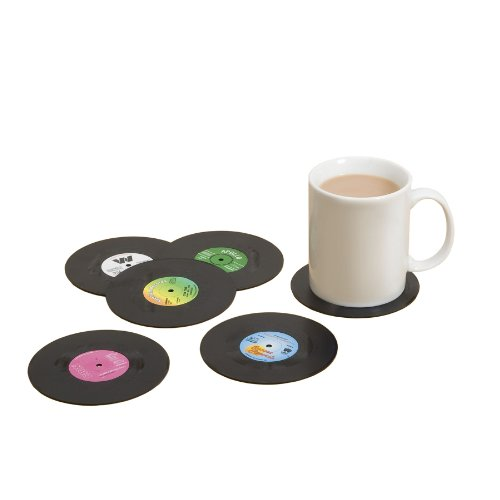 Spinning Hat Retro Vinyl Coasters - Set of six retro coasters. Remind yourself of the days of vinyl while drinking your favourite beverage.