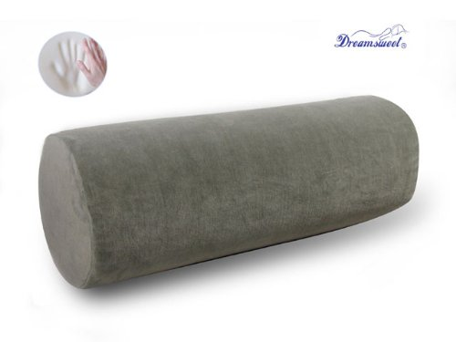 Dreamsweet Memory Foam Large Round Roll Pillow w/ Removable Cover, Gray