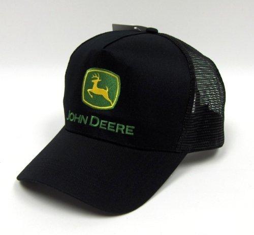 John Deere Black Cap : Original john deere logo adjustable black mesh hat pet