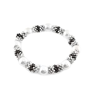 Pearl Station Stretch Bracelet; Silver And Gunmetal; White Pearls; Stretch;