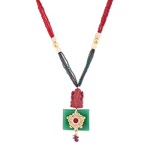 Red Manirathnum Red, Green, White Semi Precious Stones, Brass Stone Pendant Set 85.00 Grams For Women (Multicolor)