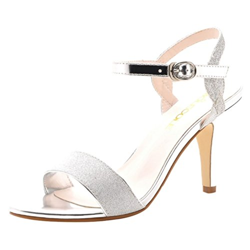 T&Mates Womens Elegant Open Toe Ankle Strap Buckle Chunky Heel Wedding Work Dress Pumps (7.5 B(M)US,Silver) (Brazilian Can Opener compare prices)