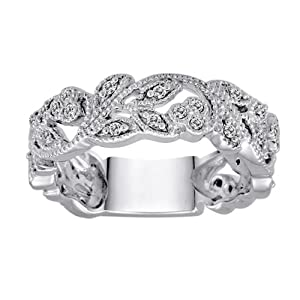 10k White Gold White Diamond Ring (1/4 cttw, H-I Color, I1-I2 Clarity), Size 7