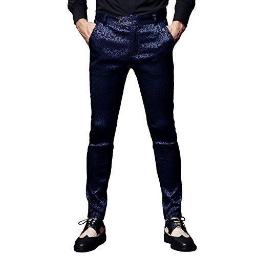 FANZHUAN Lush Jacquard pantaloni Casual per Uomo Slim Fit Fashion Purple Blue W29