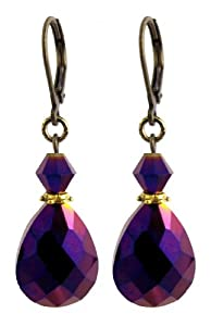 Faceted Fire Polished Glass Teardrop Earrings - Purple Vitral Iridescent (E159)