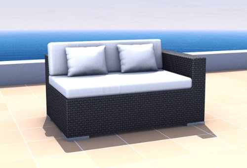 Outdoor Wicker Patio Furniture Sectional Sofa Modular Right Espace Black Best Product 2012