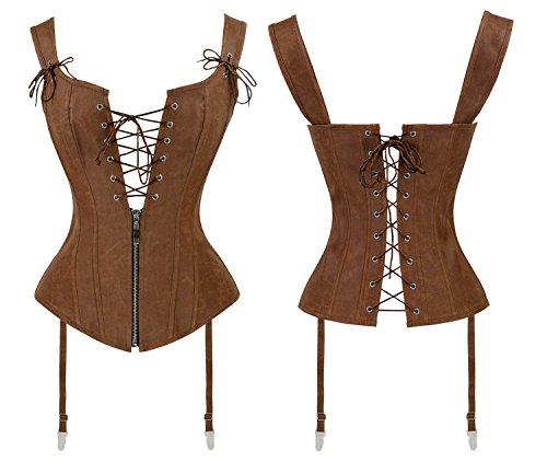 Charmian Women's Renaissance Lace Up Vintage Boned Bustier Corset with Garters 3