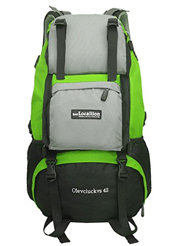 Zerd 42L Waterproof Nylon Mountaineering Camping Travel Backpack Trekking Bag Green front-388708