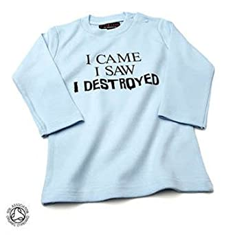 "Nappy Head I Came I Saw I Destroyed (""Ich kam Ich sah Ich zerstörte"") langärmeliges Baby/Kinder-T-Shirt in Kaugummirosa,0-6 Monate"