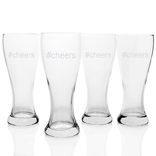 Cathy's Concepts Cheers Pilsners Glasses (Set of 4), Clear by Cathy's Concepts