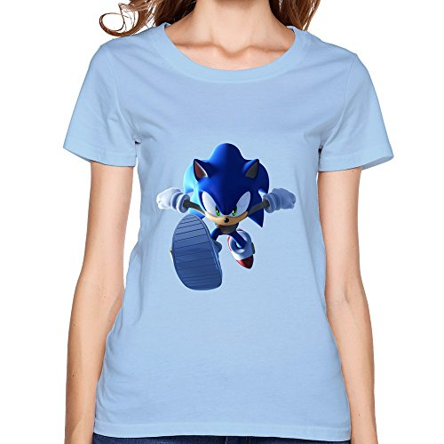 Sonic Hedgehog Running Women Design T-Shirts Sky Blue (Multy Colors)