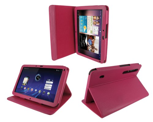 rooCASE Multi-Angle (Magenta) Leather Folio Case Cover for Motorola XOOM Android Tablet (NOT Compatible with XOOM Family and XOOM 2)