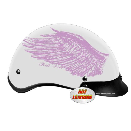 Hot Leathers DOT Approved Ride Free Wings Ladies Helmet (Black, X-Small)