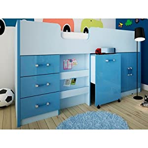 Marconie Mid Sleeper Bunk Bed Colour: Blue High Gloss
