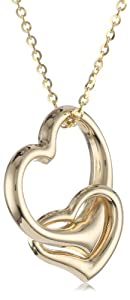 Mother's Day Gifts:14k Yellow Gold Double Heart Pendant Necklace, 16″