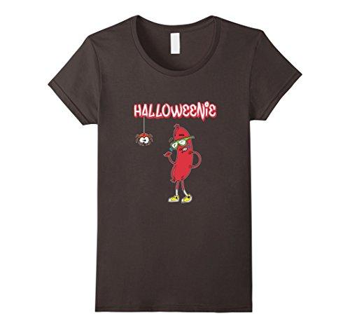 [Women's Halloweenie Funny Spider Hot Dog Weiner Cute Costume T-Shirt XL Asphalt] (Funny Weiner Dog Costumes)