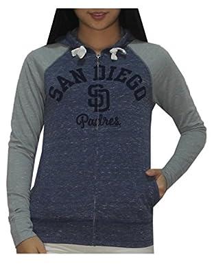 MLB Womens San Diego Padres Athletic Zip-Up Vintage Look Hoodie