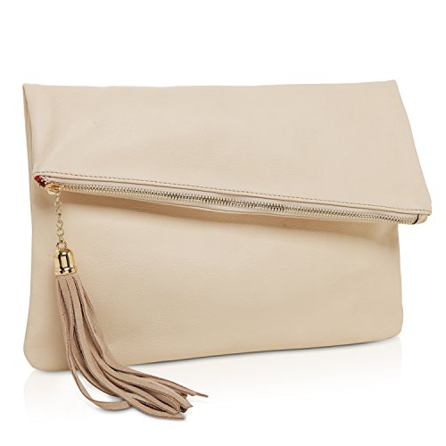 MG Collection Foldover Clutch Purse / Fashion Evening Handbag with Tassel, Cream (Cream Clutch compare prices)