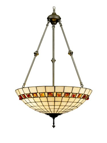 B000QTRREM Dale Tiffany 7190/3LTJ Geometric Jewel Inverted Pendant Light , Antique Bronze and Art Glass Shade
