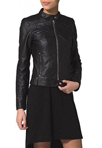Leather4u Women's Lambskin Leather jacket LL409 L Black